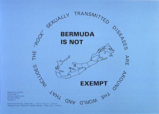 <p>Light blue poster with black lettering.  Title in center of poster, incorporated in visual image.  Image is an outline of Bermuda.  Publisher information in lower left corner.</p>