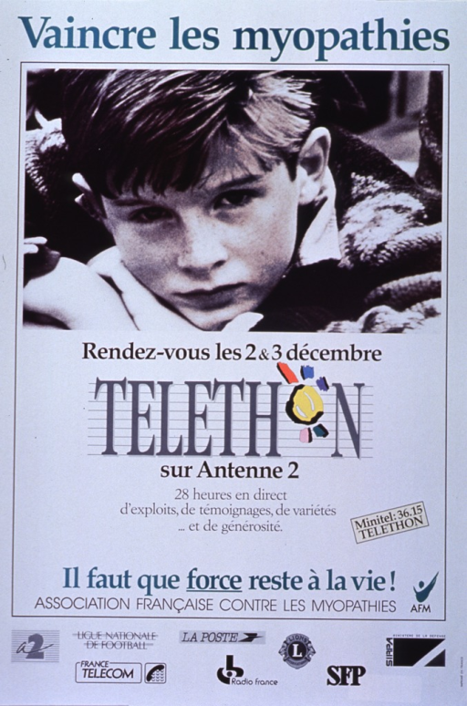 <p>White poster with teal and black lettering announcing telethon.  Also lists dates, program content, and sponsors.  Title at top of poster.  Visual image is a reproduction of a b&amp;w photo of a young boy who is resting his head on his arms.  Caption, publisher information, and sponsor information near bottom of poster.</p>