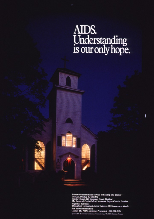 <p>Multicolor poster with white lettering announcing a church service focusing on AIDS.  Title in upper right corner.  Visual image is a color photo reproduction featuring a white frame church.  The church is illuminated and contrasts with the late evening sky in the background.  Service details and publisher and sponsor information in lower right corner.</p>