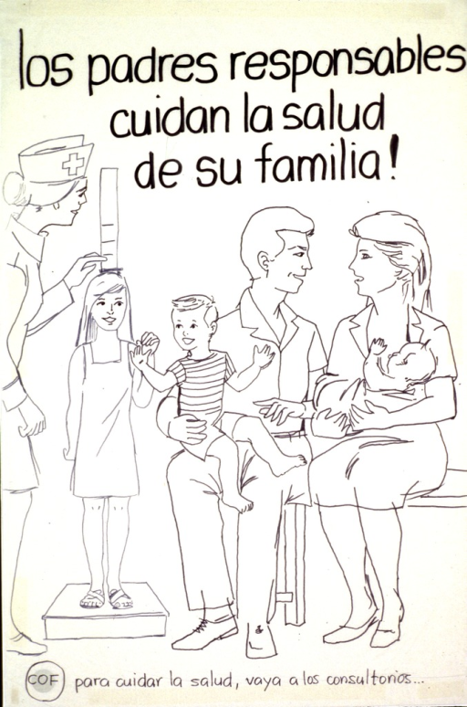 <p>White poster with black lettering.  Title at top of poster.  Visual image is a line drawing showing a five-member family in a clinic.  A health worker measures one of the children's height.  Note and publisher information at bottom of poster.  Poster is hand drawn on thin paper and taped to poster board.</p>