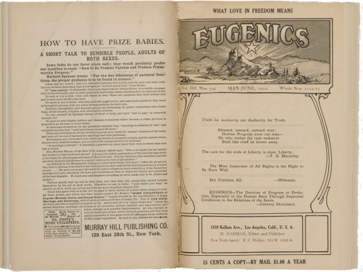 <p>Image of journal caption page which includes illustrated header of mountains, a star, and trees. Text of page includes verses related to eugenics. Text of facing page instructs parents on how to produce &quot;praise-worthy progeny.&quot;  Article called What love in freedom means.</p>