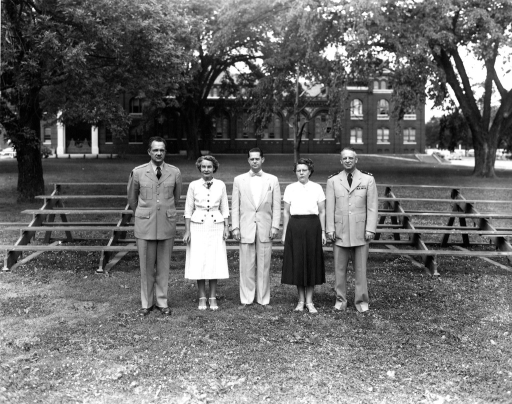 <p>Armed Forces Medical Library senior staff.  From left to right are Colonel Rogers, Miss McMillan, Mr. Taylor, Mrs. Luethy and Lieutenant Commander Oley.</p>