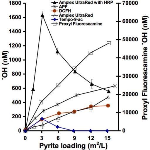 Pyrite-induced formation of reactive oxygen species. Varying amounts of pyrite particles were incubated with the probes for 24 hrs followed by filtration and fluorescence measurements.