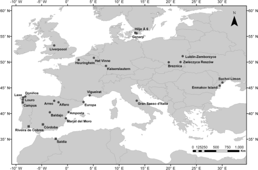 Map of I. elegans (n = 22) and                            I. graellsii (n = 4) study                        populations.The geographic range of I. elegans includes Europe with the                        exception of northern Scandinavia, Corsica, Sardinia, Sicily and Malta, and                        the western and southern parts of the Iberian Peninsula where it is replaced                        by its sister species I. graellsii[31]. The range of I.                            elegans further extends to the Middle East, and over much of                        Russia and China [31].