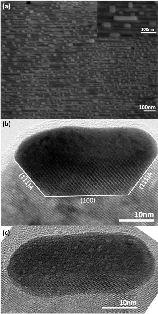 Electron microscopic images of Au nanostructures being filled into the nanotrenches: (a) The plan-view SEM image. Inset displays one of the Au nanodashes of 140 nm in length; (b) the cross-sectional TEM image taken from a nanodash that has completely filled up the underlying nanotrench; (c) a nanodash located within a nanotrench with both the front and back surfaces being non-contacted. The viewing zone axis of (b, c) is perpendicular to the nanotrenches.