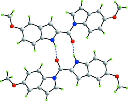 A view of a dimeric aggregate in (I) sustained by N—H···O hydrogen bonds, shown as blue dashed lines.