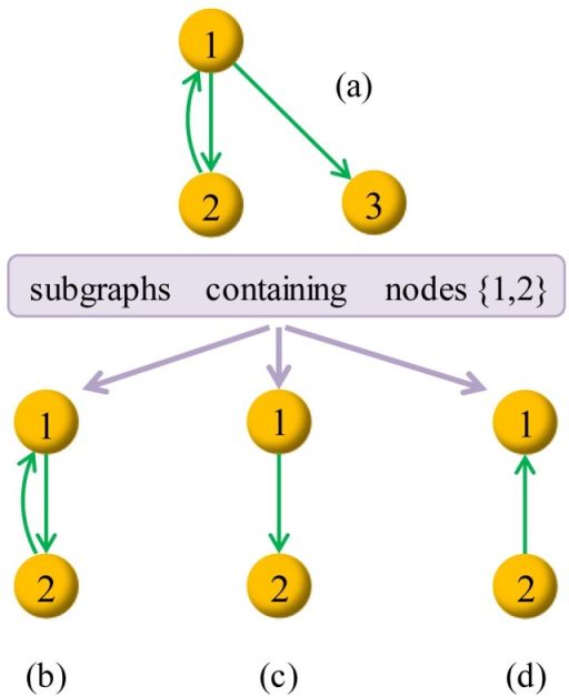 Considering subgraphs of (a) that contains nodes {1,2}.If we only consider the deduced subgraph, (b) is the unique one, while in our method, graphs (b), (c) and (d) are all subgraphs under consideration. Notice that, the empty graph containing nodes 1 and 2 and no link is also a subgraph of (a) according to our definition.