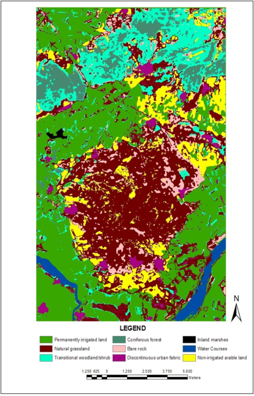 The land use/cover map of the study area according to CORINE Land Cover Project.