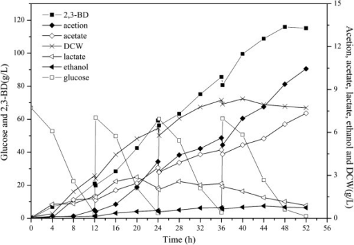 Fed-batch fermentation profiles of ΔldhA ΔadhE mutant. DCW, dry cell weight; 2,3-BD, 2,3-Butanediol. The curves were calculated from one measurement of three experiments.
