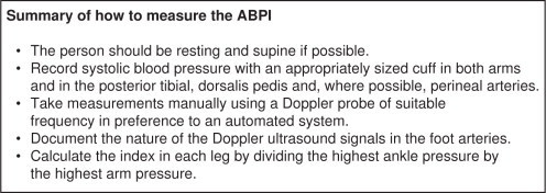 Summary of how to measure the ankle brachial pressure index (ABPI). Information obtained from NICE guidelines on peripheral arterial disease (GC 147).1
