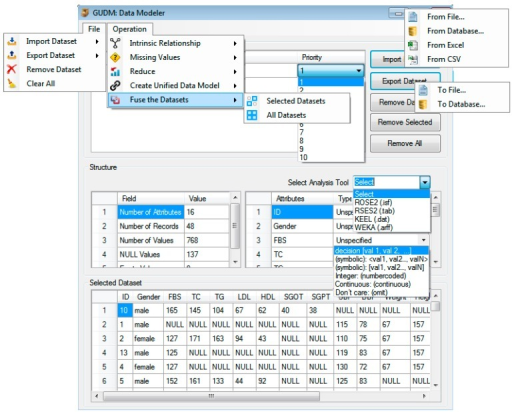 "The ""data modeler"" launch interface with all the supported controls."