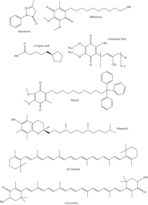 Chemical structures of representative mitochondrion-permeable antioxidants (edaravone, idebenone, α-Lipoic acid, coenzyme Q10, MitoQ, vitamin E, β-carotene, and astaxanthin).