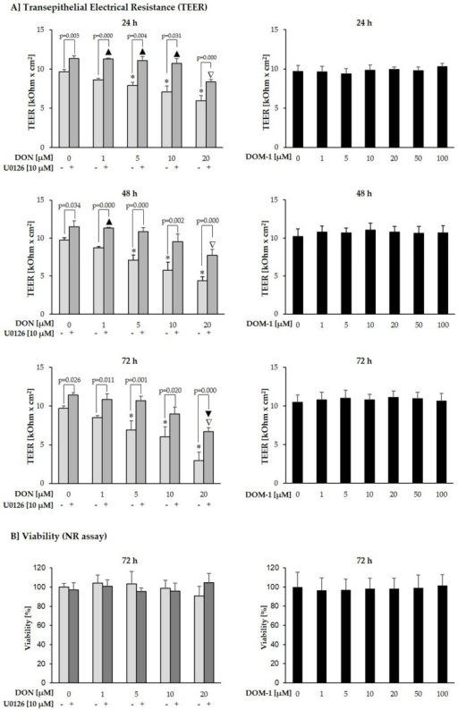 Effect of DON (+/− U0126) and DOM-1 on TEER and viability of differentiated IPEC-J2. Differentiated IPEC-J2 were either pretreated with U0126 (10 µM) or cultivation medium, before addition of DON (1–20 µM). Alternatively, differentiated IPEC-J2 were treated only with DOM-1 (1–100 µM). (A) TEER was measured after 24, 48 and 72 h (p-values indicate significant differences between IPEC-J2 treated with DON alone or DON + U0126 at individual concentrations; significant differences (*) of DON-treated cells to untreated control; significant increases (▲) or decreases (▼) of DON+U0126-treated cells compared to untreated control; significant decreases (▽) of U0126-treated cells compared to U0126 control. (B) Following the final TEER measurement, viability was determined via NR uptake. Data represent mean ± SD, n = 4.