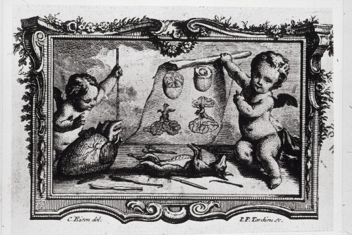 <p>A small dog is lying on its back on a table, scalpels and other surgical instruments are scattered about; an enormous heart is at the left in front of a cherub; another cherub is holding an anatomical chart.</p>
