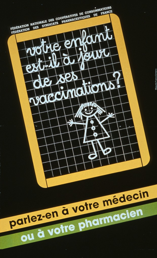 <p>Predominantly black poster with black and white lettering.  Visual image is an illustration of a slate tablet, framed in yellow.  The tablet features the title and a stick figure drawing of a girl.  Publishers listed above the tablet, caption appears below the tablet.  Caption suggests talking to a doctor or pharmacist.</p>