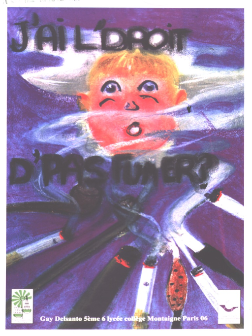 <p>A drawing of a boy's face is shown amid a cloud of smoke.  The smoke is coming from an array of pipes, cigars, and cigarettes at the bottom of the poster.</p>