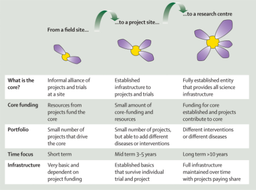 Development from a field site to a research centreThe yellow circle indicates the core and the purple petals indicate the projects.