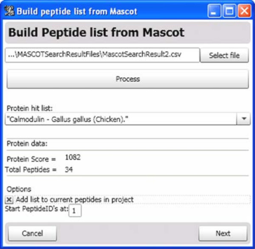 Inputting Peptide Data from a MASCOT search result. After selecting a Mascot search result exported in 'csv' format, the user clicks 'Process'. Hydra parses the search result and lists the protein hits. The peptide data (m/z, retention time, charge state, sequence, etc.) from the selected protein are imported into Hydra.