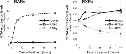 RA upregulates RAR-β mRNA and downregulates RXR-γ mRNA in isolated SCs.SCs were treated with 1 µM RA for the times indicated and the relative levels of all six retinoid receptors were determined by Q-RT-PCR. All values are shown as the mean ± SD relative to their respective controls.