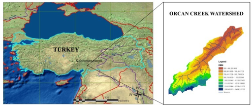 The location of the study area on topographic map of Turkey.