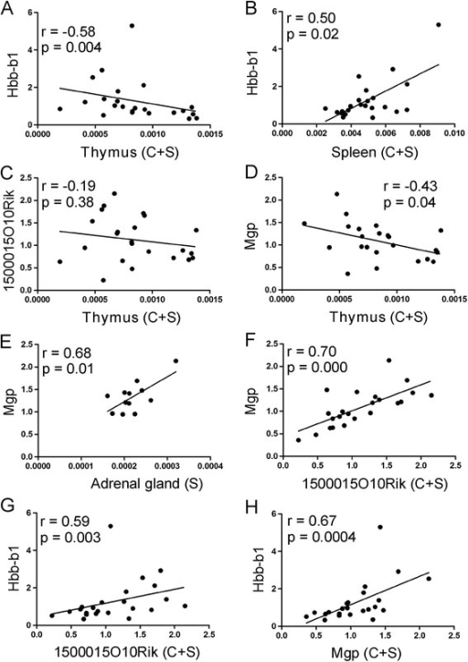 Correlation between expression of genes affected by chronic stress (13 days) and weight of thymus (A, C, D), spleen (B) and adrenal glands (E) calculated per 1 g of body weight. Correlation between Mgp, 1500015O10Rik and Hbb-b1 is presented in panel F, G and H. C + S denotes that presented are data from both contron and stressed animals, S denotes correlation only within stress group.