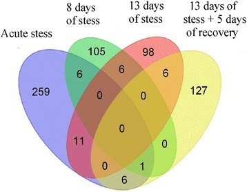 Venn diagram showing differences and similarities in gene expression between different stress regimes. Each colored ellipse represents one treatment group. Numbers of genes common between treatment groups are depicted on intersections between ellipses.