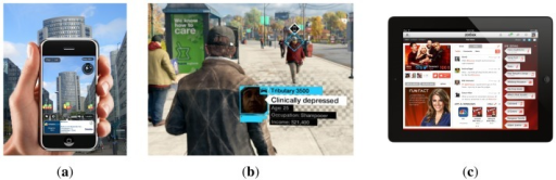 Layar, Watchdogs and augmented television. (a) Screen-shot of the Layar app. Additional information is superposed onto the image on the smart-phone. (b) Screen-shot of the game Watchdogs. In the game, enriched information is presented in the form of cards with details about characters or objects. (c) Zeebox is an augmented television app that shows live information about the current content.