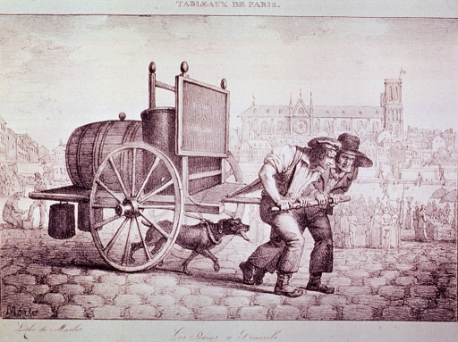 <p>Exterior view:  Two men and a dog are pulling a two-wheeled cart with a large barrel and bathtub on it.</p>