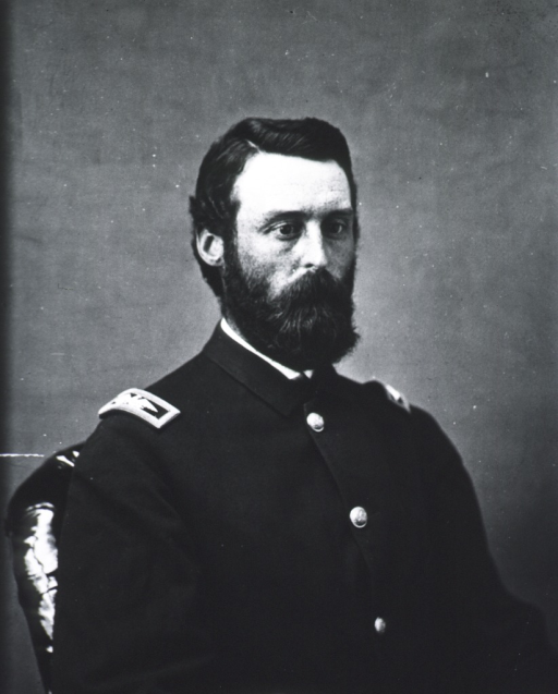 <p>Half length, seated, right pose, face to front; in uniform.</p>