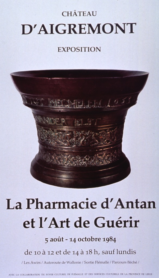 <p>White poster with black lettering announcing exhibit, Aug. - Oct. 1984.  Also lists dates, hours, directions, and sponsors.  Initial title words at top of poster.  Central image on poster is a metal cup, perhaps bronze or copper, with elaborate engraving and some green oxidation residue.  Words visible on cup, in two separate lines, are &quot;tot mechelen 1653&quot; and &quot;vander elst.&quot;   Remaining title words and text at bottom of poster.</p>