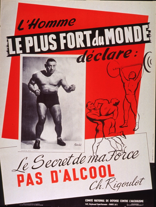 <p>Red, white, and black poster.  Initial title phrase at top of poster.  Visual images are a b&amp;w photo reproduction showing Charles Rigoulot, a French weightlifter and Olympic champion, in a boxing stance and drawings of a man lifting weights and two men wrestling.  Remaining title text below images.  Publisher information in lower right corner.</p>