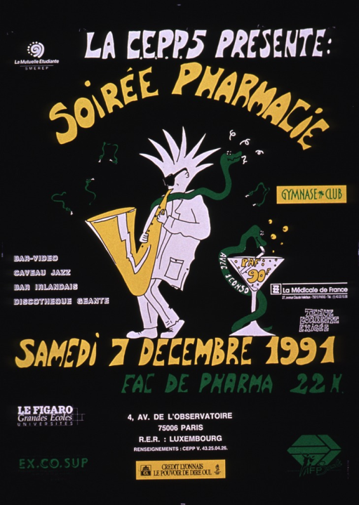 <p>Predominantly black poster with multicolor lettering.  One sponsor logo in upper left corner.  Publisher information at top of poster; title below.  Visual images are illustrations of a man playing the saxophone as a green snake rests on his shoulders and a green snake coiled around a martini glass.  Additional text on poster lists date, time, and location of party, and many more sponsors.</p>