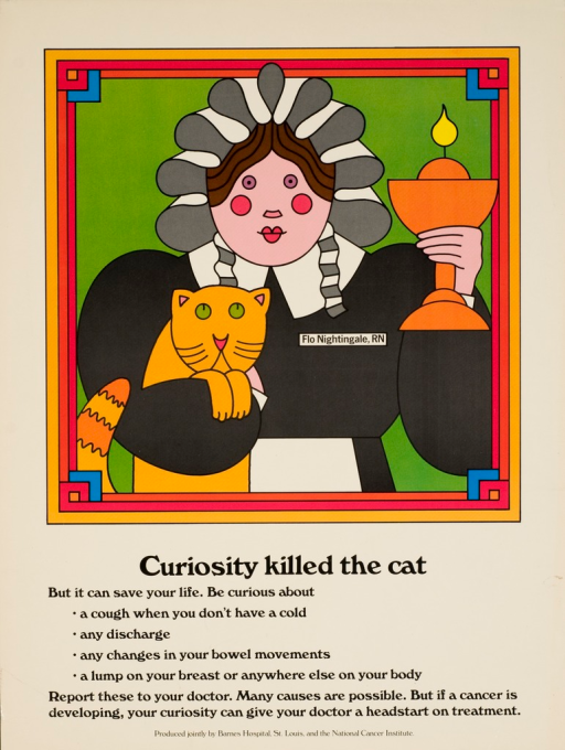 <p>A drawing of a woman, wearing a &quot;Flo Nightingale, RN&quot; name tag, holding a cat and a candle.</p>