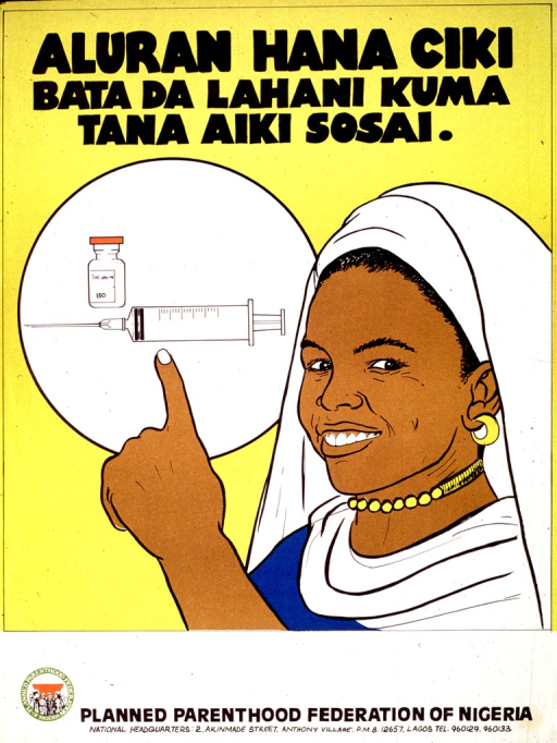 <p>Predominantly yellow poster with black lettering.  Title at top of poster.  Title indicates that injection prevents pregnancy and may also state that the injection works well.  Visual image is an illustration of a woman pointing to a syringe and vial.  Publisher information at bottom of poster.</p>