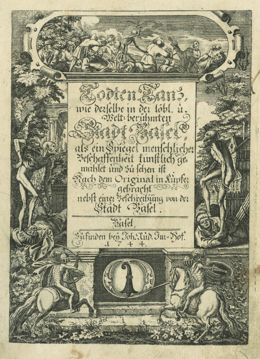 <p>The title page of Todten-Tanz / Danse des Morts [1744] refers the reader to the Basel mural on which the plates were based.</p>