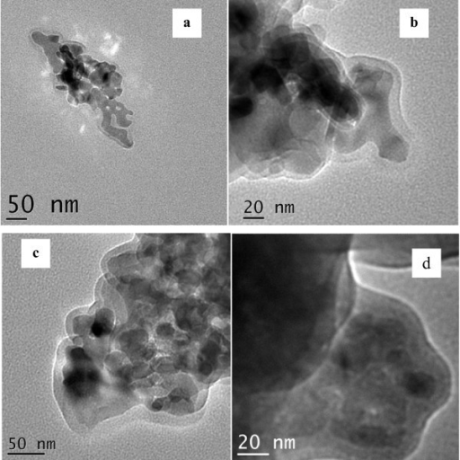 TEM images of functionalized core-shell. TEM images of (a) Mn2O3@amino-functionalized silica (without TEOS), (b) Mn2O3@vinyl-functionalized silica, (c) Mn2O3@allyl-functionalized silica, and (d) Mn2O3@amino-functionalized silica (with TEOS).
