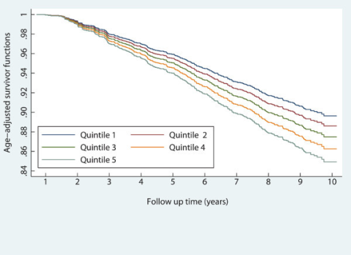 Age-adjusted survival curves across quintiles of the visceral adiposity index: men.