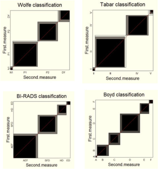 Agreement charts for the comparison of first versus second mearsurements using four different risk classification scales for breast cancer based on mammographic density patterns [Garrido-Estepa et al. (2010)].