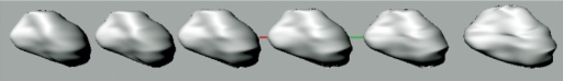 Non-uniform rational B-spline (NURBS) surface deformation with intermediate steps.