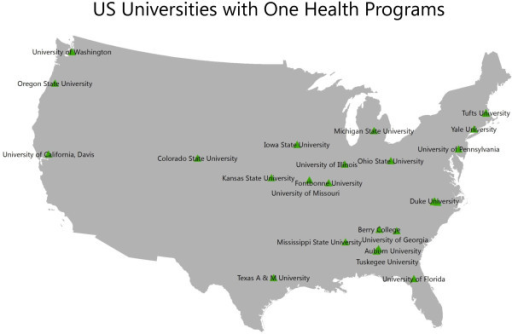 Map of higher academic institutions in the United States of America currently engaged in One Health-related research or training programs.