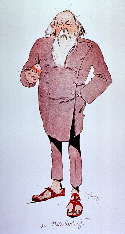 <p>Caricature: a physician standing full length, wearing sandals.</p>