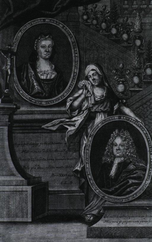 <p>Double portraits in oval frames; separated by sorrowing figure; religious symbols in background; architectural bases.</p>