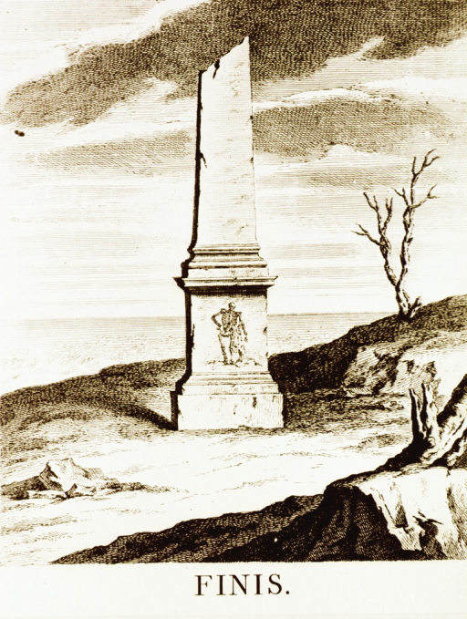 <p>Engraving of a broken and weathered monument with a skeleton on the base.</p>
