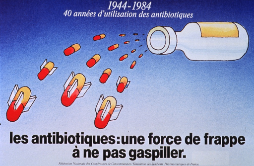 <p>Predominantly blue poster with white and black lettering.  Note at top of poster.  Visual image is an illustration of a pill bottle in mid-air with pills spilling out.  A few of the pills have fins, making them look like bombs.  Title and publisher information at bottom of poster.</p>