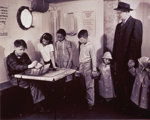 <p>Children waiting at a medical clinic.</p>