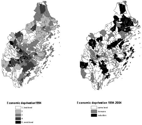 Material deprivation at parish level. Quintiles in 1994 and changes between 1994 and 2004.