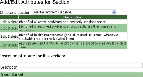 Screen showing addition of grading criteria ('attributes') for a section of the health record.