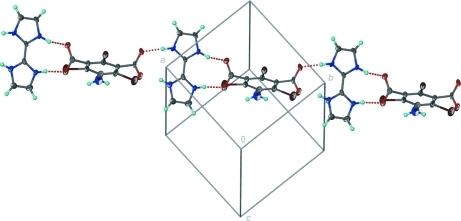 Part of the crystal structure showing hydrogen bonds as dashed lines.