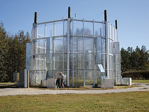 A prototype warming chamber constructed at Oak Ridge National Laboratory that is being tested for refinement before deployment for an ecosystem manipulation experiment in a spruce – peat bog near Grand Rapids, MN, USA (https://mnspruce.ornl.gov/). Photo compliments of Paul Hanson, Oak Ridge National Laboratory.