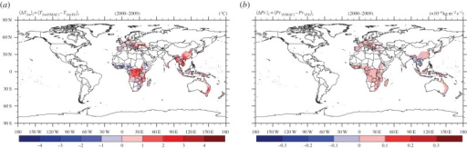 Comparing the ERA-Interim (EI) data with the model simulation over the period 2000–2009. (a) Mean near-surface temperature difference. (b) Average precipitation flux difference. Areas with hsi less than 10% are not considered. The same maps but with all areas included are shown in the electronic supplementary material, figures S12 and S13.
